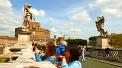 The famous St. Angelo Bridge in Rome Stock Footage