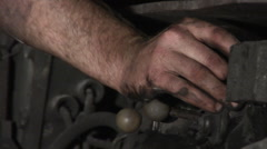 Worker's Hand Dirty Miner's Hand Presses The Lever no Finger Phalanx Hand Close Stock Footage