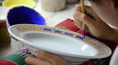 Stock Video Footage of Painting ceramic benjarong is traditional thai five basic colors style pottery