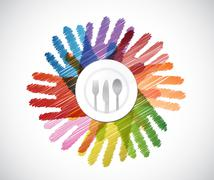 plate and utensils over a color hands diversity - stock illustration