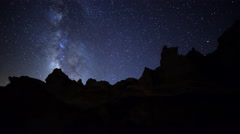 Astro Time Lapse of Milky Way Galaxy spanning across Desert Formation -Tilt Up- Stock Footage