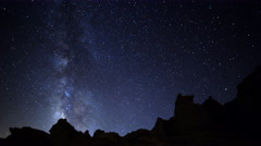 Astro Time Lapse of MilkyWay Galaxy spanning across Desert Formation -Tilt Down- - stock footage