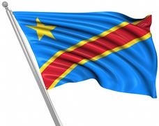 Flag of the Democratic Republic of the Congo - stock illustration