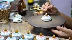 Painting ceramic benjarong is traditional thai five basic colors style pottery5 Stock Footage