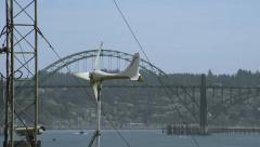 Vane anemometer with bridge in background  - stock footage