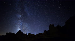 Astro Time Lapse of Milky Way Galaxy spanning across Desert Formation -Zoom In- Stock Footage