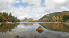 The Bubbles and Jordan Pond, Autumn, Acadia National Park - stock footage