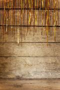background with tinsel and golden shine - stock photo