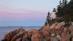 Stock Video Footage of Bass Harbor Head lighthouse at dawn, Acadia National Park