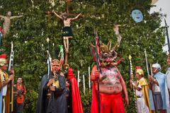 Holy week celebration in Alangasi, Ecuador Stock Photos