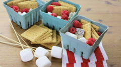 Smores with white chocolate and fresh raspberries. Stock Footage