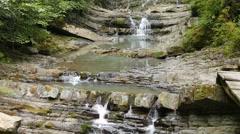 Agura waterfalls. Upper Falls. Sochi, Russia. 1280x720 - stock footage