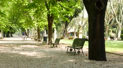The beautiful park of Villa Borghese in Rome - stock footage