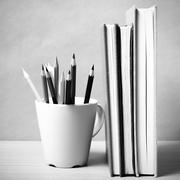 Stock Photo of stand up book with color pencil black and white color tone style
