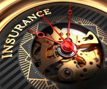 Insurance on Black-Golden Watch Face - stock illustration