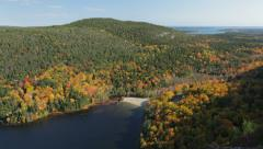 South end of Echo Lake, Acadia National Park (pan) - stock footage