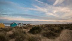 Southwold Beach Huts Timelapse Stock Footage
