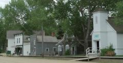 Pan of buildings in wild west town. Stock Footage