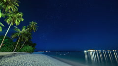 Night sky with Palm Trees on the Beach Time-lapse Arkistovideo