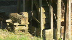 Wooden watermill and bench at the Open Air Museum in Sibiu Stock Footage