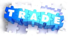 Trade - White Word on Blue Puzzles - stock illustration