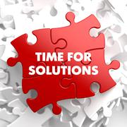Time For Solutions on Red Puzzle Stock Illustration