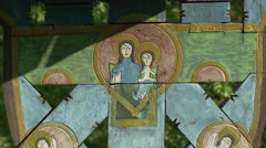 Religious icon with the Virgin Mary and Baby Jesus in Sibiu - stock footage