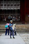 Thai woman looking map at Todai-ji Temple Stock Photos