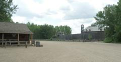 Pan from trading post to Fort Edmonton Stock Footage