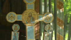 Orthodox wooden icon at the Open Air Museum in Sibiu Stock Footage