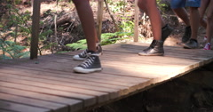 People walking over a small wooden bridge Stock Footage