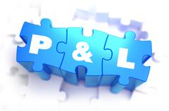 Profit and Loss - White Text on Blue Puzzles - stock illustration