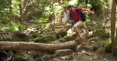 Friends walking through a forest, balancing on a fallen tree Stock Footage