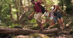 Group of friends hiking in a forest take a break to eat - stock footage