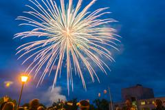 Fireworks on the feast Day of the city in Kohma, June 12, 2014. Stock Photos