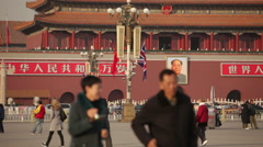 UK flag, Tiananmen Square, Chairman Mao - stock footage