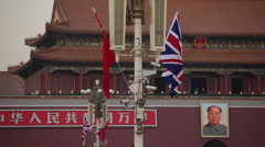 British & Chinese flags, Tiananmen Square Stock Footage