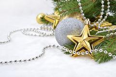 Gold star and Christmas balls - stock photo