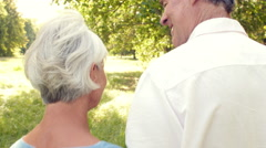 Senior couple walking together in the countryside Stock Footage