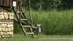 Wooden outside ladder at the Open Air Museum in Sibiu Stock Footage