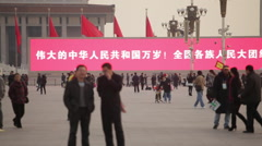 Chinese nationalism, banner, Tiananmen Sq - stock footage