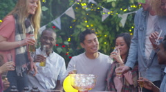 Happy group of friends drinking and having fun at party in the garden Stock Footage