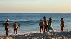 Ipanema Beach, Rio de Jameiro, playing FOOTVOLLEY. Stock Footage