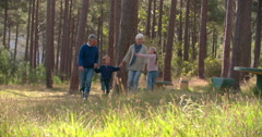 Multi generation family walking in the countryside - stock footage