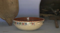 Stock Video Footage of A beautiful ceramic bowl at the Astra National Museum Complex in Sibiu