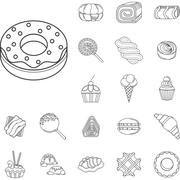 Sweet food flat line icons - stock illustration