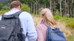 Multi generation family walking in the countryside, back view - stock footage