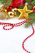 Gold star and Christmas decorations - stock photo
