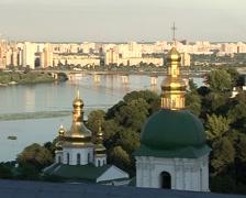 Kiev Cityscape Kievo-Pecherska Lavra Green Cupolas Golden Cupolas Zoom In Stock Footage