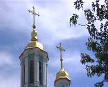 Bell Tower With Golden Cupola Golden Cross Branch of Tree Semicircular Windows Stock Footage